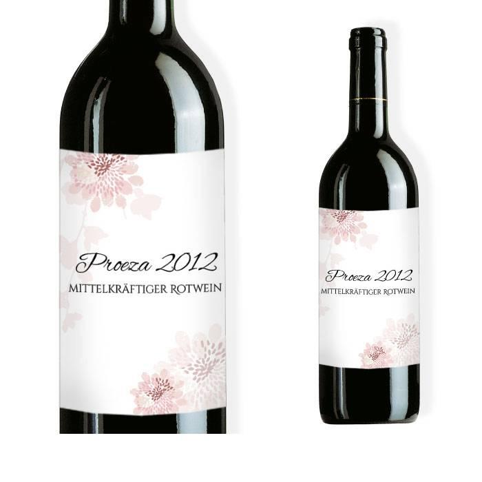 Weinflaschenetikett zur Hochzeit mit zarten Blüten in Rosa