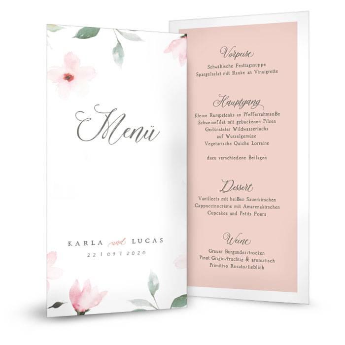 Romantische Menükarte zur Hochzeit mit Blütenmuster in Rosé