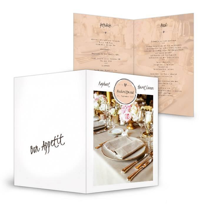Menükarte zur Hochzeit mit großem Foto in Apricot und Weiß