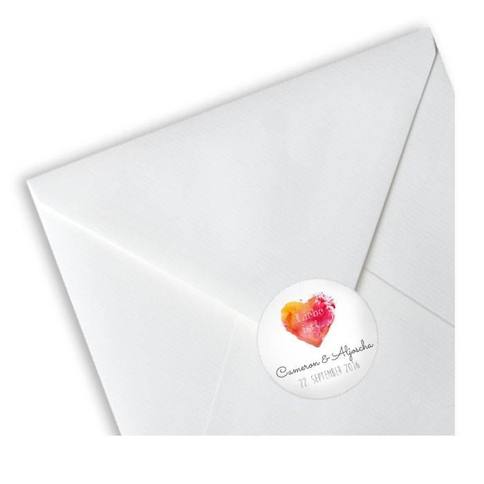 Runde Hochzeitsaufkleber mit Watercolor Herz in Rot