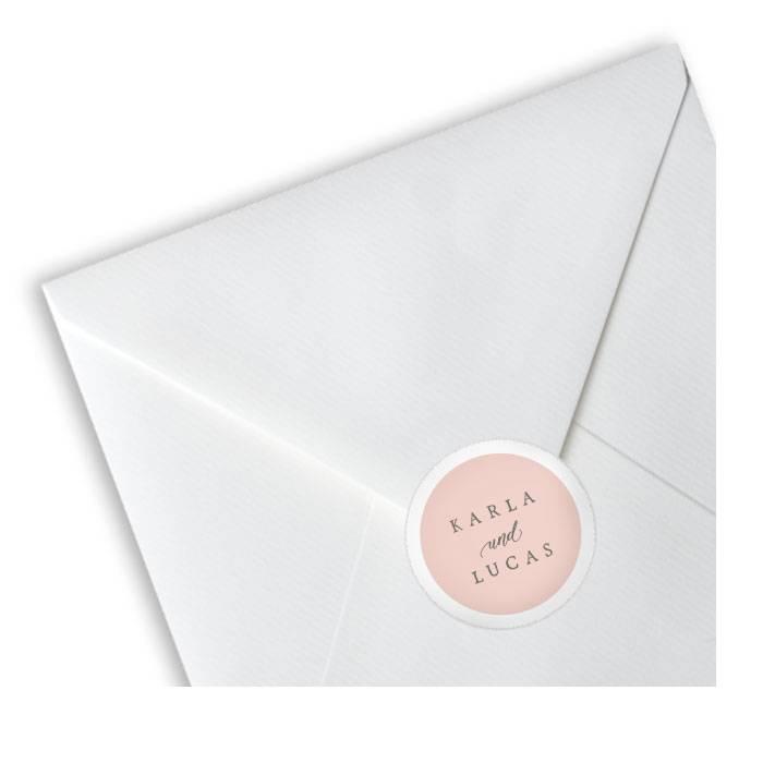 Hochzeitsaufkleber in Rosa für Umschläge und Gastgeschenke