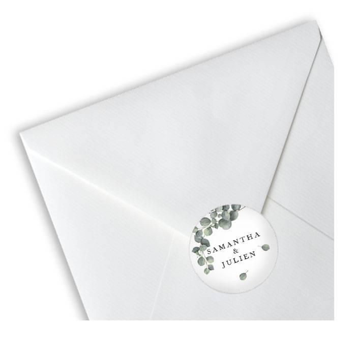 Hochzeitsaufkleber mit Eukalyptuszweig für Gastgeschenke