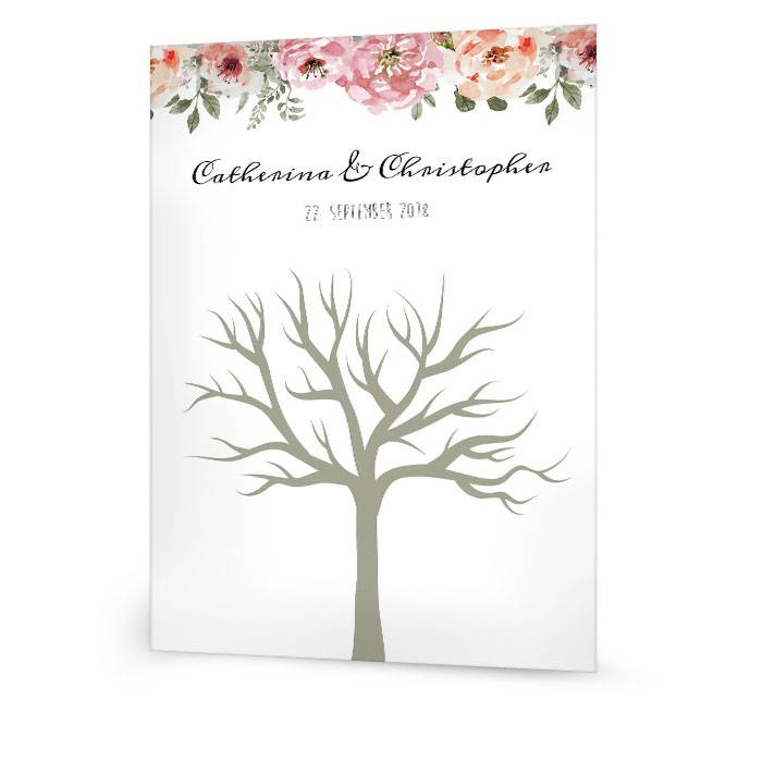 Vintage Hochzeitsbaum mit Aquarellblumen für Fingerprintsbild