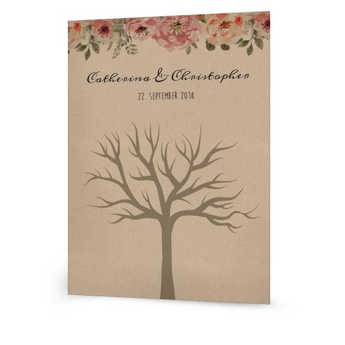 Hochzeitsbaum für Fingerprints in Kraftpapieroptik mit Blüten