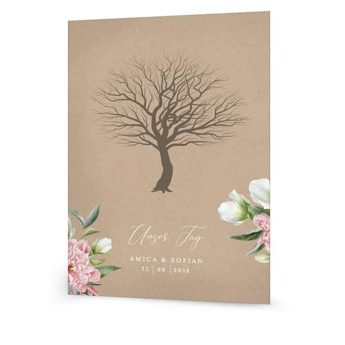 Fingerabdruckbaum zur Hochzeit in Kraftpapieroptik mit Blüten