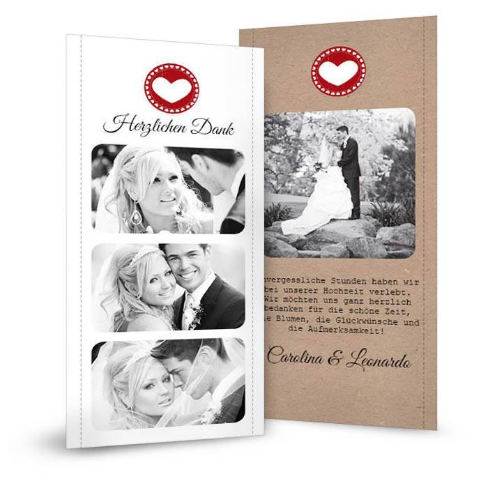 Moderne Danksagung zur Hochzeit im Kraftpapier-Stil mit Herz