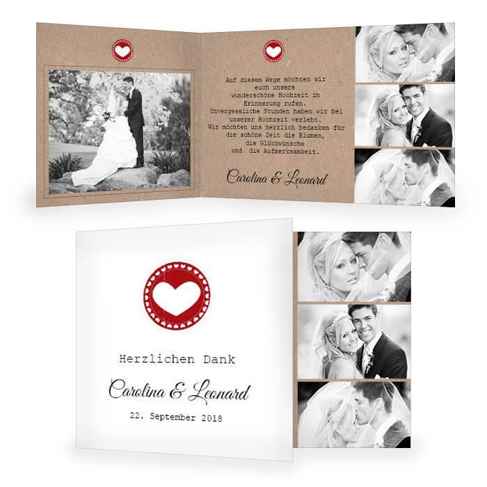 Danksagung zur Hochzeit im Kraftpapier-Design und Herz