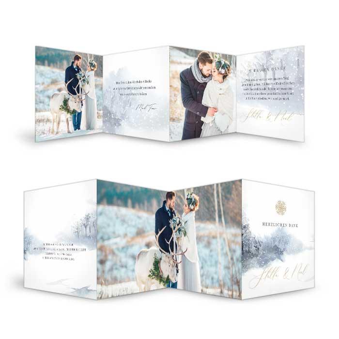 Hochzeitsdanksagung mit winterlicher Aquarelllandschaft