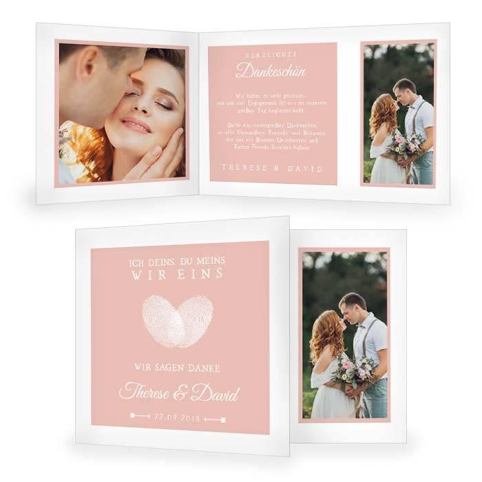 Danksagungskarte zur Hochzeit mit Fingerabdruck Herz in Rosa