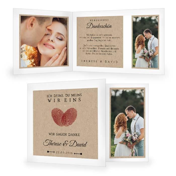 Hochzeitsdanksagung mit Fingerabdruck Herz im Kraftpapierstil