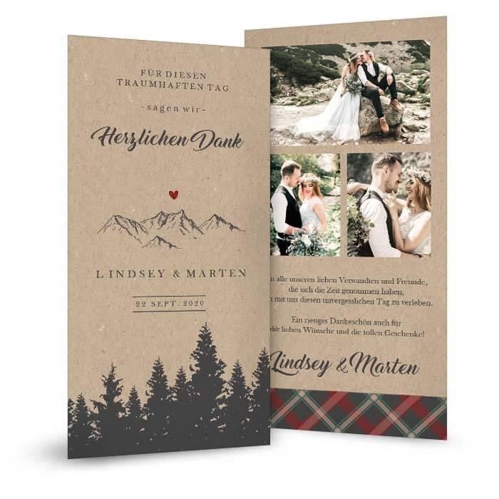 Hochzeitsdanksagung mit Bergen und Wald in Kraftpapieroptik