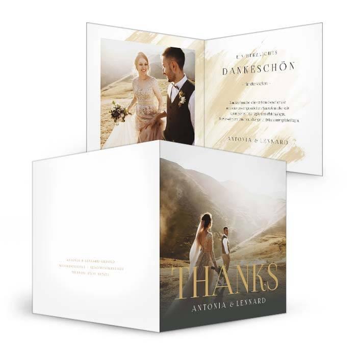 Hochzeitsdanksagung mit Foto und großem Schriftzug
