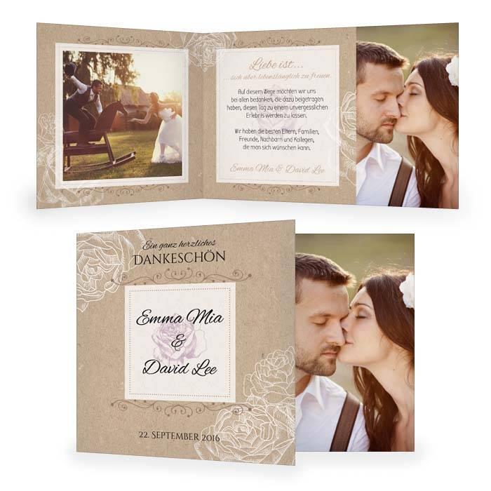 Danksagung zur Hochzeit in Kraftpapieroptik mit Rosen