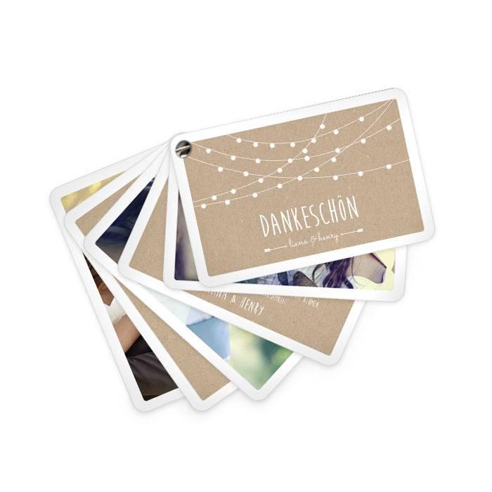 Hochzeitsdanksagung in Kraftpapieroptik als Kartenfächer