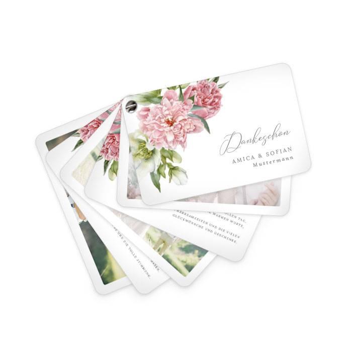 Hochzeitsdanksagung als Kartenfächer mit Pfingstrosen-Design