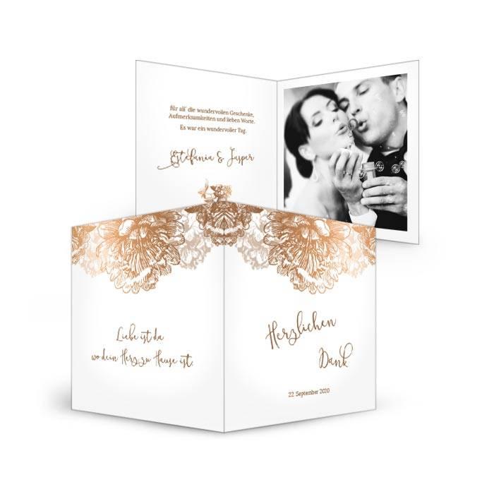 Hochzeitsdanksagung in Weiß mit Blüten in Kupfer