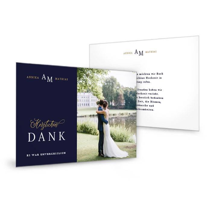 Hochzeitsdanksagung als Postkarte in Dunkelblau mit eleganter Schrift