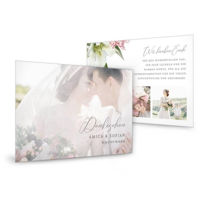 Hochzeitsdanksagung als Postkarte mit eleganten Pfingstrosen