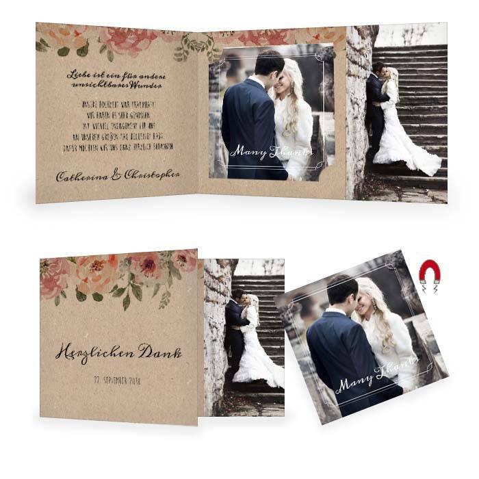 Danksagung im Kraftpapierstil mit Rosendesign und Magnetbild