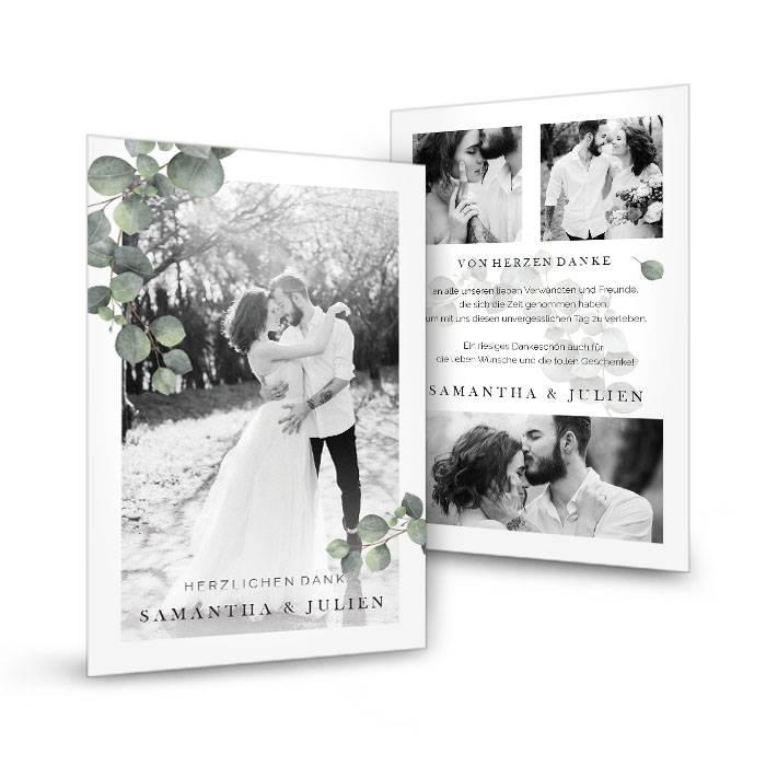 Hochzeitsdanksagung im Greenery Stil mit Eukalyptusmotiv