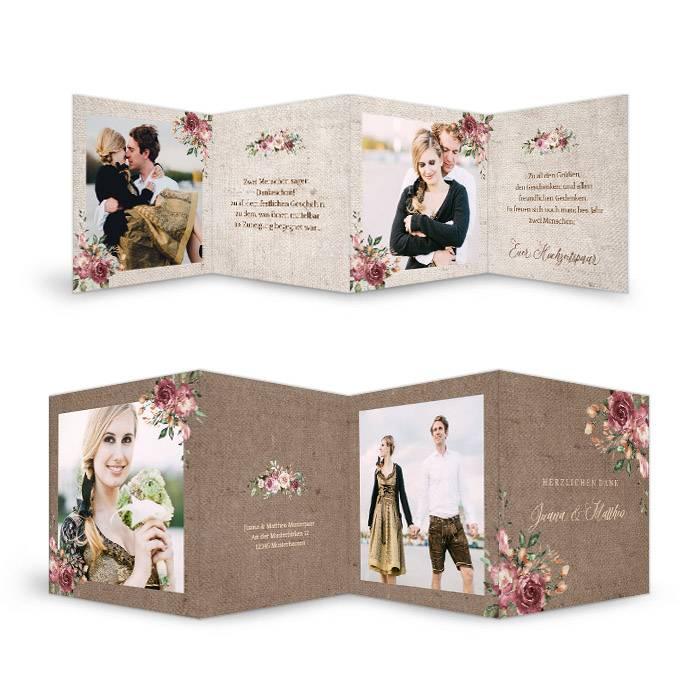 Hochzeitsdanksagung in Jute-Optik mit Blüten als Leporello