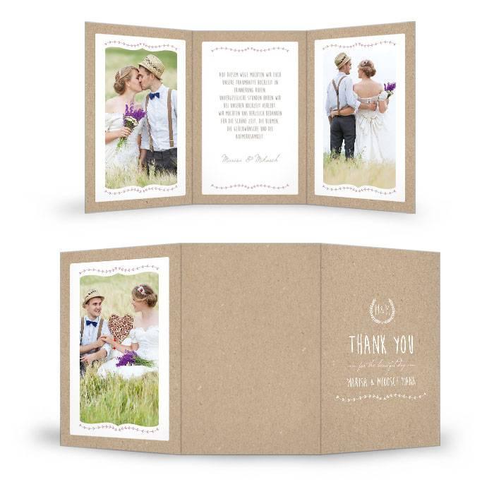Vintage Danksagung zur Hochzeit im Kraftpapierdesign