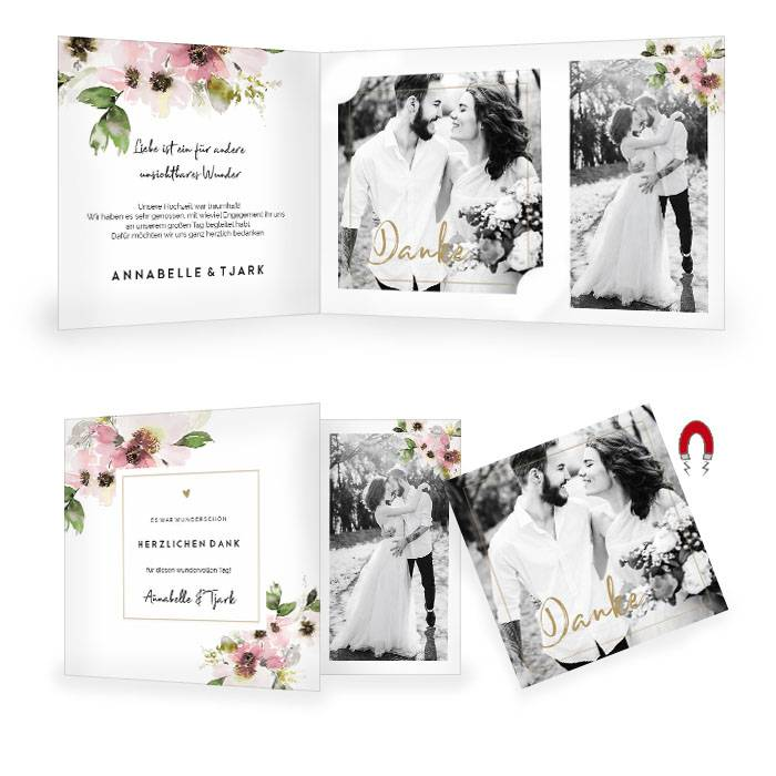 Hochzeitsdanksagung im zarten Aquarelldesign mit Magnetkarte
