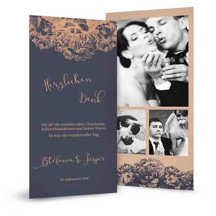 Elegante Hochzeitsdanksagung in Blau mit Blüten in Kupfer