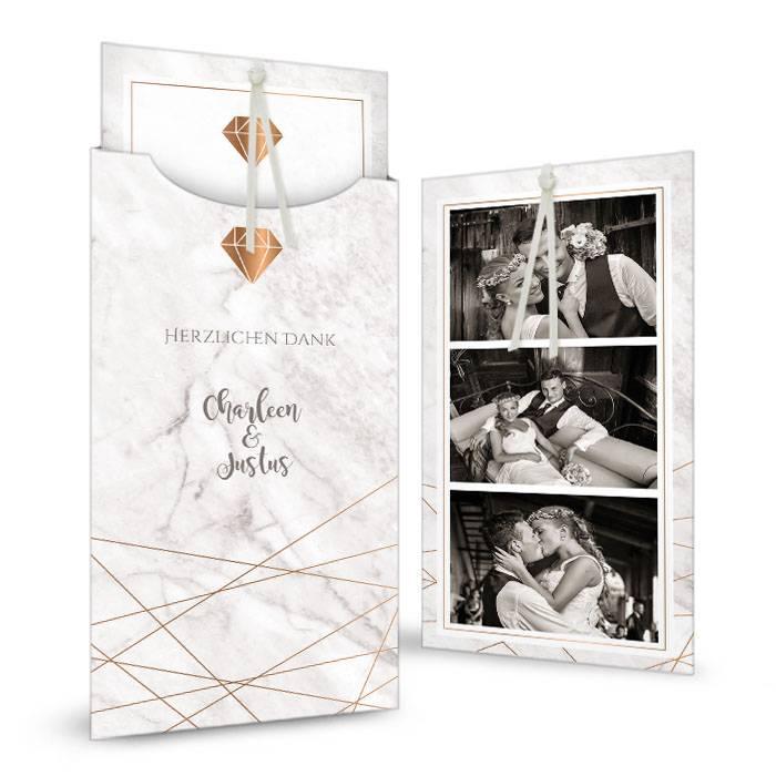 Hochzeitsdanksagung in Marmoroptik mit Diamantornament