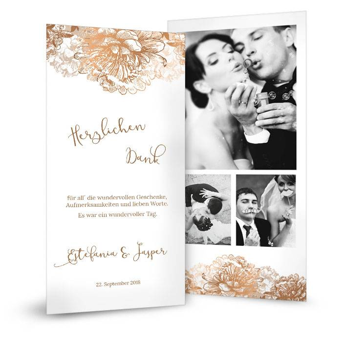 Elegante Hochzeitsdanksagung in Weiß mit Blüten in Kupfer