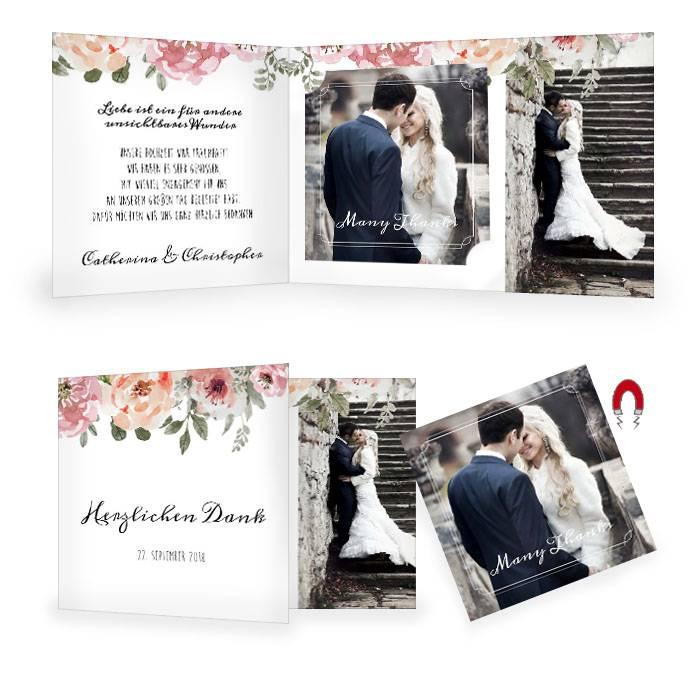 Hochzeitsdanksagung mit Rosen im Aquarellstil und Magnet