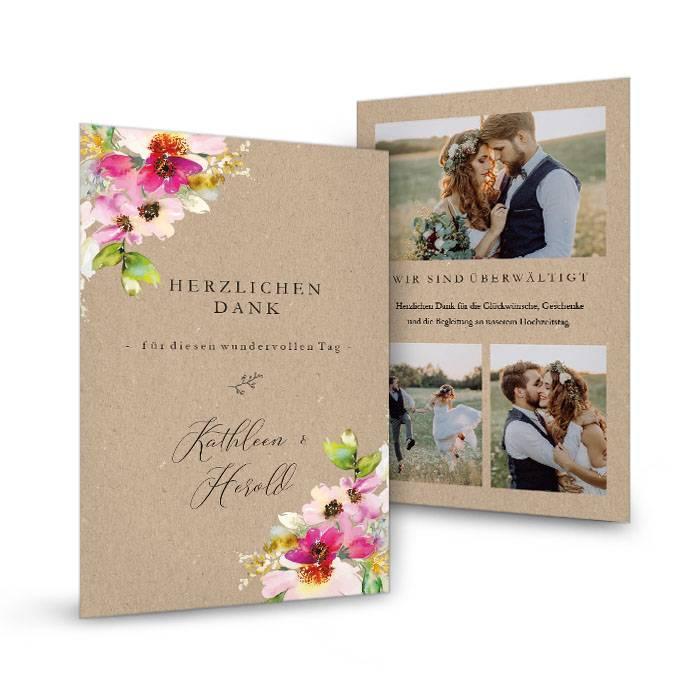 Hochzeitsdanksagung mit bunten Aquarellblumen - Kathleen