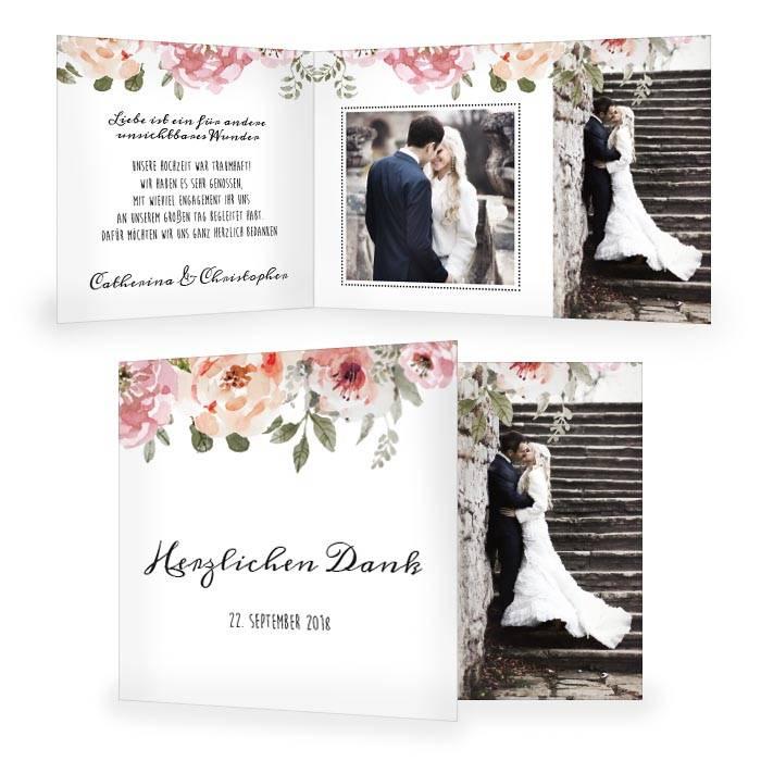 Hochzeitsdanksagung mit Rosen im Aquarellstil und großen Fotos