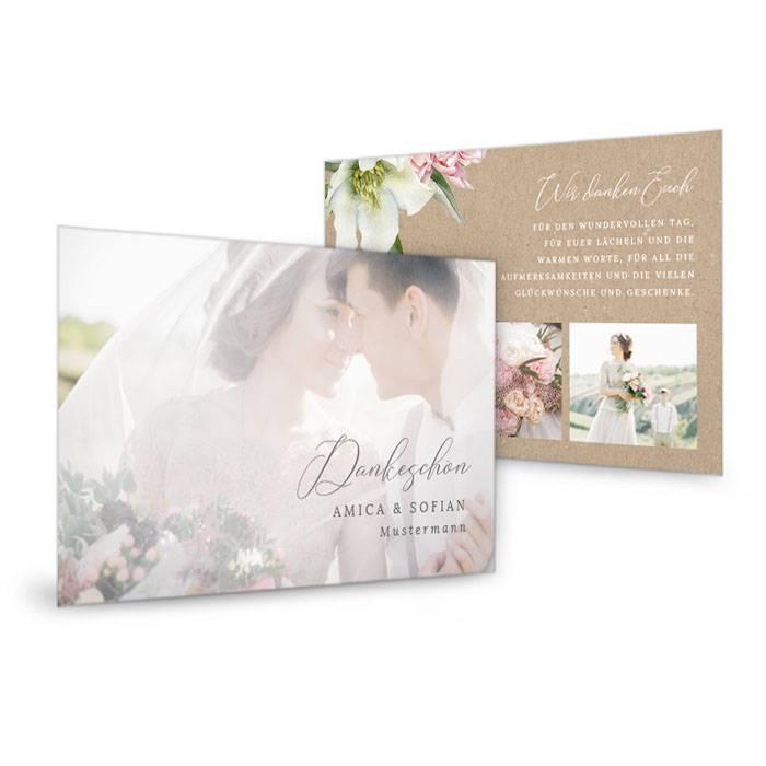 Hochzeitsdanksagung mit Pfingstrosen in Naturpapieroptik