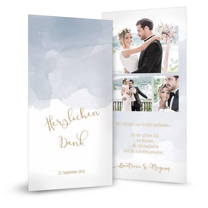 Danksagung zur Hochzeit mit blauem Aquarell und Kalligraphie