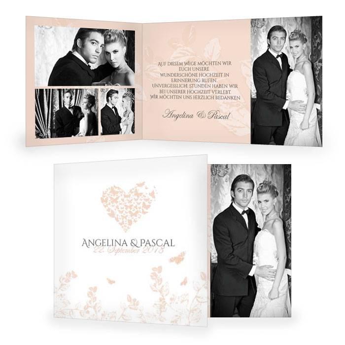 Danksagungskarte Hochzeit mit Herz und Schmetterlingen