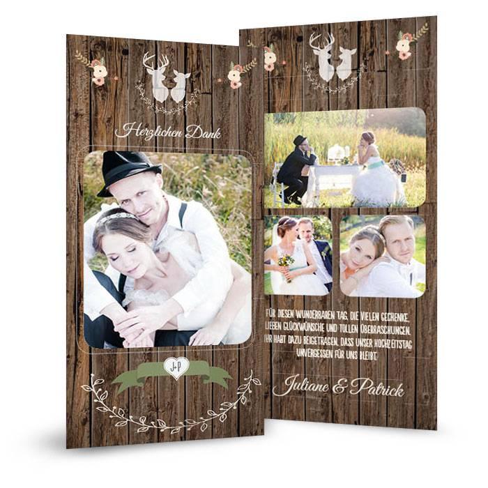 Hochzeitsdanksagung im Jagd Stil mit Hirsch und Reh