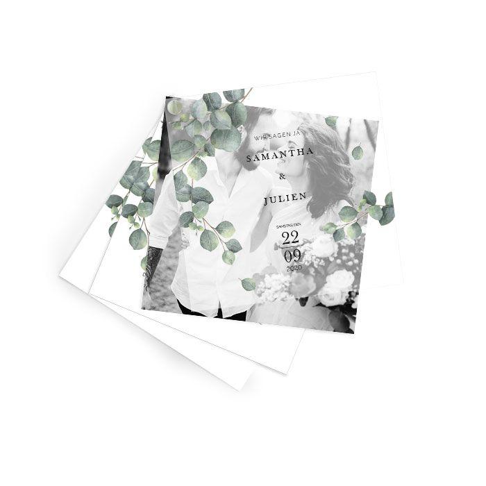 Hochzeitseinladung mit Transparentpapier und Eukalyptus