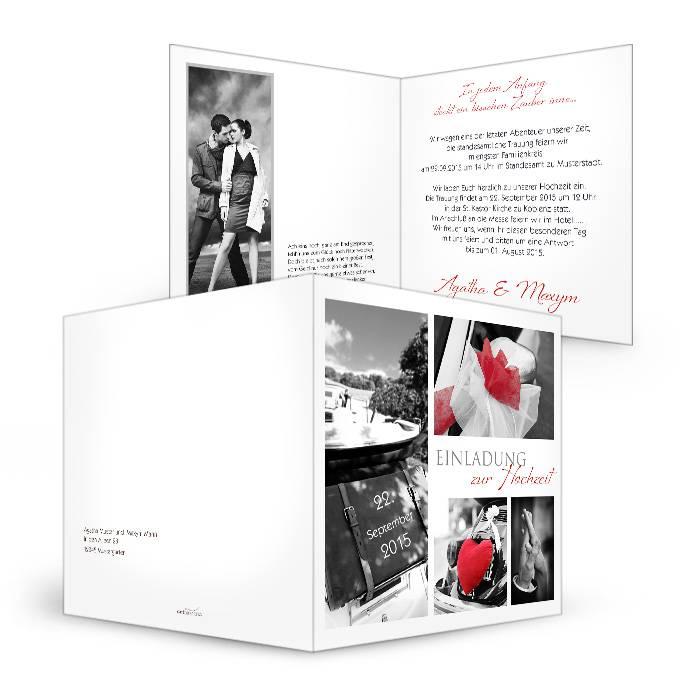 Schlichte Einladung zur Hochzeit in Weiß mit vielen Fotos