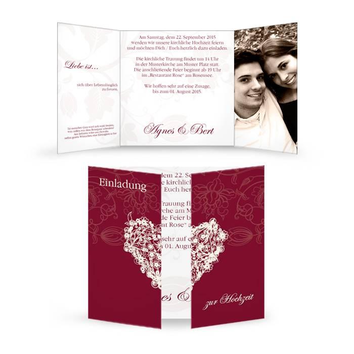 Romantische Einladung zur Hochzeit als Altarfalz in Bordeaux