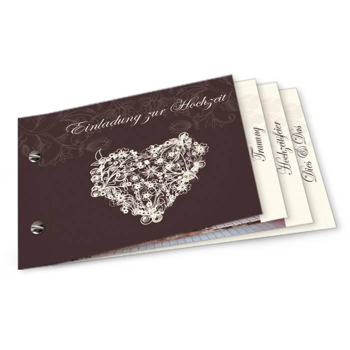 Elegante Einladung zur Hochzeit als Booklet in Dunkelbraun