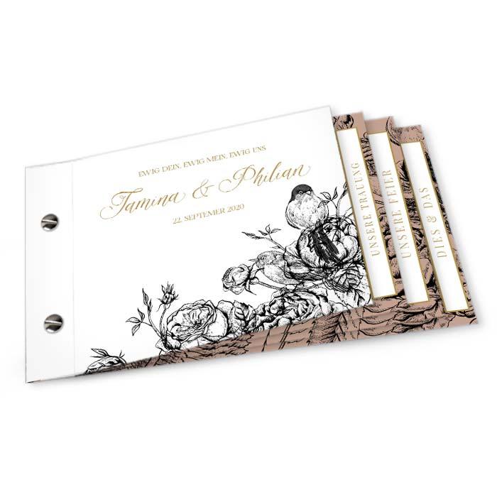 Hochzeitseinladung als Booklet mit Rosen und Vögeln