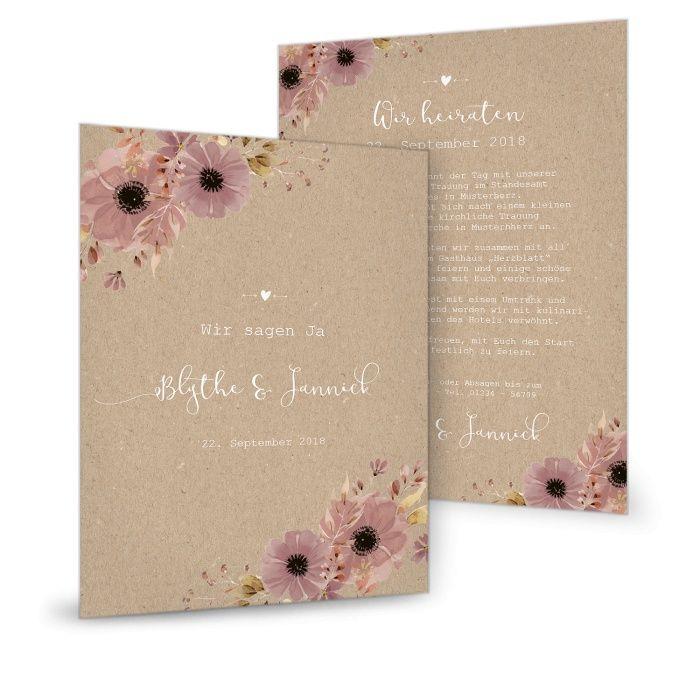 Hochzeitseinladung als Postkarte im Landhausstil mit Aquarellblumen