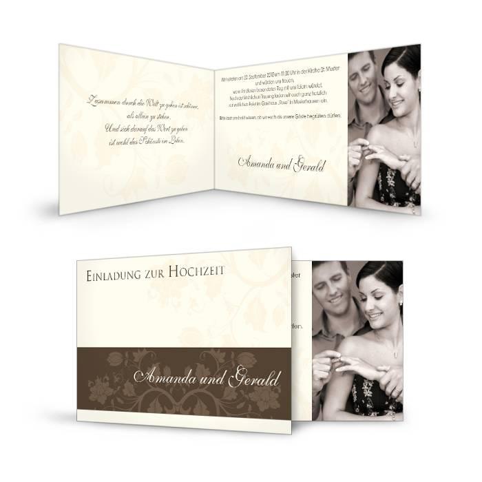 Einladung zur Hochzeit mit floralem Design in Creme und Foto