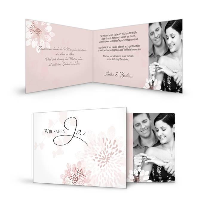 Romantische Hochzeitseinladungen in Rosa mit Blumen
