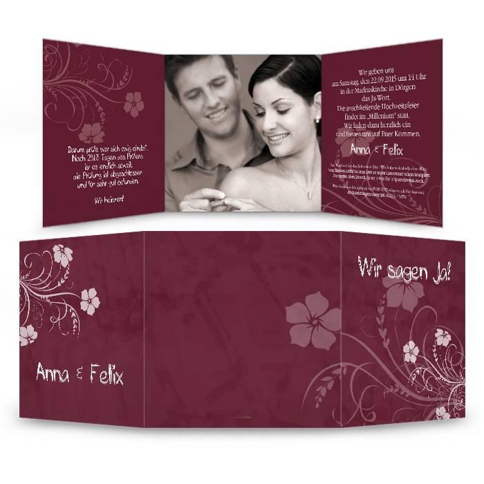 Einladung zur Hochzeit in Bordeaux mit floralem Muster