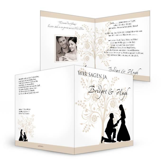 Romantische Hochzeitseinladung mit Scherenschnitt Motiv