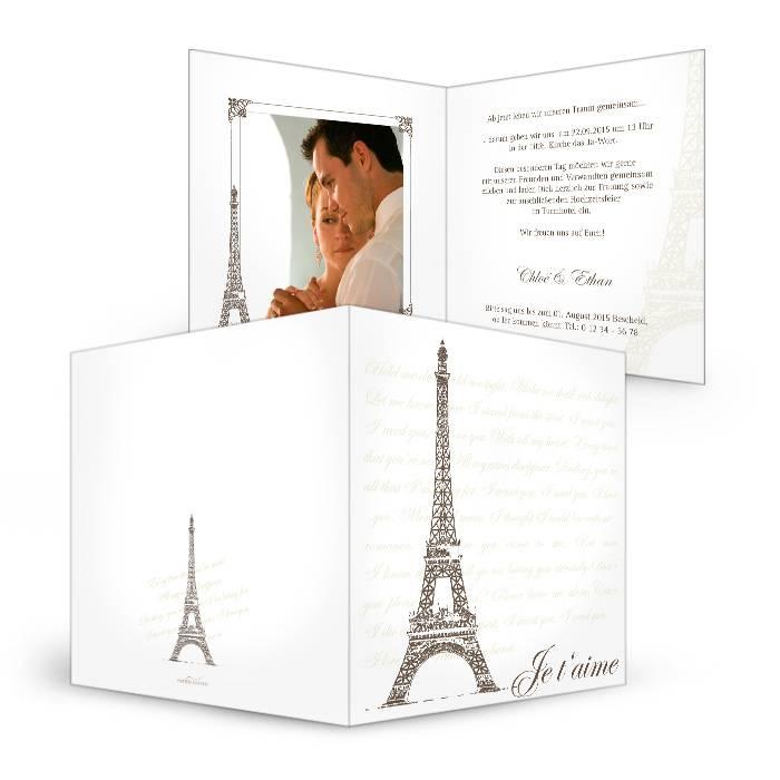 Vintage Hochzeitseinladung mit Paris Flair und Eiffelturm