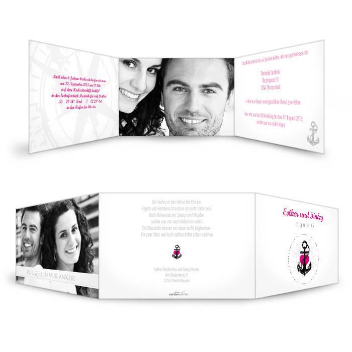 Maritime Einladung zur Hochzeit in Weiß mit pinkem Anker