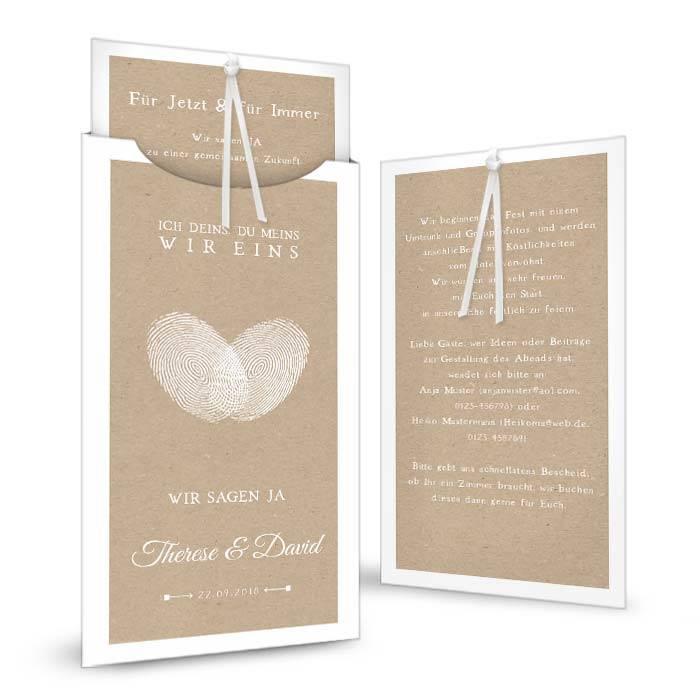 Hochzeitseinladung mit Herz Fingerabdruck als Einsteckkarte